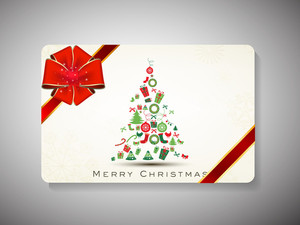 Decorated Gift Card With Ribbon For Merry Christmas Celebration
