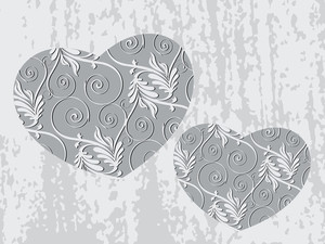Decorated Grey Heart Shape With Texture Background