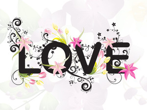 Decorated Love With Blossom Background