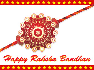 Decorated Maroon Rakhi On Background