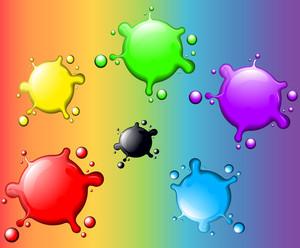 Decorative Blots On A Rainbow. Vector.