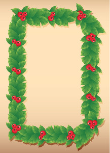 Decorative Christmas Holly Frame. Vector.