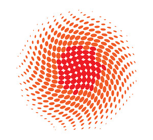 Decorative Colored Halftone Circle