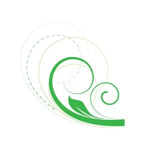 Decorative Green Flourish Elements