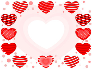Decorative Heart Shapes With  Copy Space For Your Text. Vector Illustration.