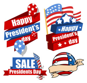 Decorative Modern United States National Holidays  Presidents Day Vector Set