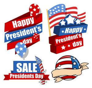 Decorative Modern United States National Holidays  Presidents Day Vector Set