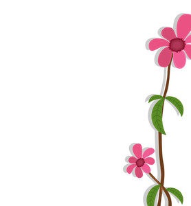Decorative Pink Flowers Greeting Banner