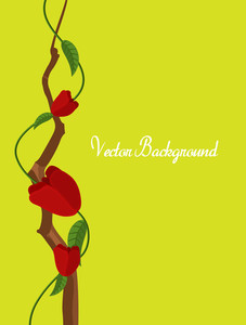 Decorative Red Roses Branch Vector Element
