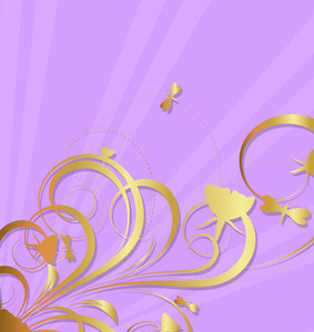 Decorative Royal Golden Floral Sunburst Background