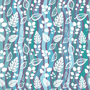 Decorative Seamless Pattern With Leaf And Wave.