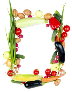 Decorative Vegetables Frame Isolated On White