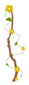 Decorative Yellow Flowers Branch Vector