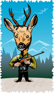 Deer With Hunting Rifle