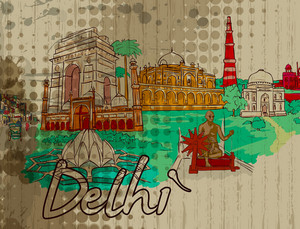 Delhi Doodles Vector Illustration