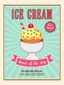Delicious Ice Cream menu card design on vintage background.Menu card design for ice cream.