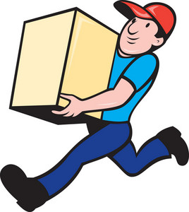 Delivery Person Worker Running Delivering Box