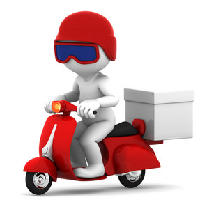 Delivery Scooter With Big White Box