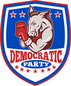 Democrat Donkey Mascot Boxer Shield
