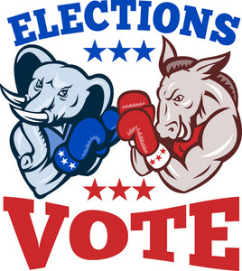Democrat Donkey Republican Elephant Mascot Election Vote