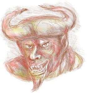 Demon With Big Horns