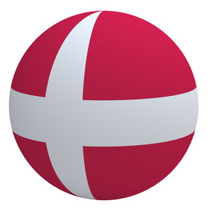 Denmark Flag On The Ball Isolated On White.