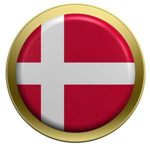Denmark Flag On The Round Button Isolated On White.