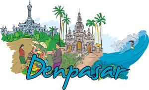 Denpasar Vector Doodle