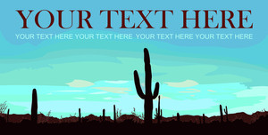 Desert Landscape With Cactus. Vector Illustration.