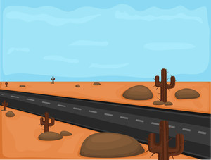 Desert Road Vector Drawing