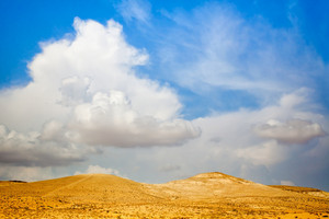 Desert with cloudy sky in Israel