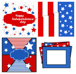 Design And Backgrounds Set Patriotic Usa Theme Vector