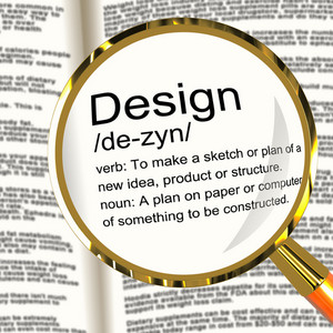 Design Definition Magnifier Showing Sketch Plan Artwork Or Graphic