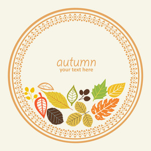 Design Round Element With Autumn Leaf
