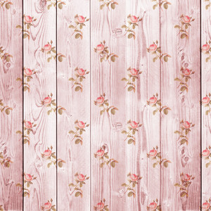 Design Texture Of Romantic Flower Painted Wooden Boards