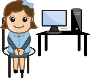 Desktop - Computer Teacher - Vector Illustration