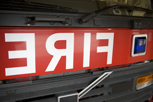 Detail of the front of a fire engine