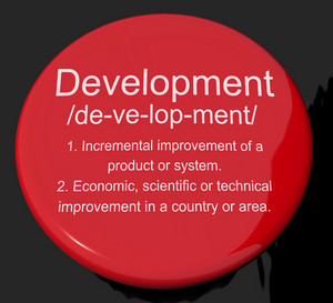 Development Definition Button Showing Improvement Growth Or Advancement