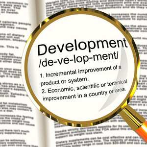 Development Definition Magnifier Showing Improvement Growth Or Advancement
