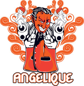 Devil With Guns Vector T-shirt Design