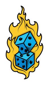 Dice In Fire Casino Lover Tattoo Concept Vector Illustration