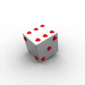 Dice Style Cube With Heart Pattern