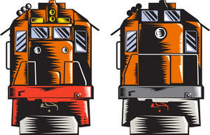 Diesel Train Front Rear Woodcut Retro