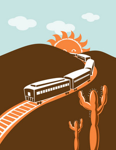 Diesel Train Locomotive Retro Sun And Mountain