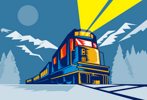 Diesel Train Locomotive Retro Winter Scene