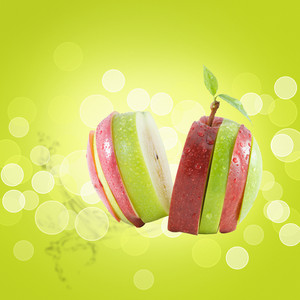 Different Colors Sliced Apple