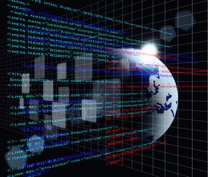 Digital Program Code With Earth Globe Background