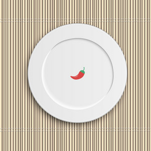 Dinner Plate On Bamboo Napkin