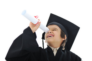 Diploma graduating little student kid