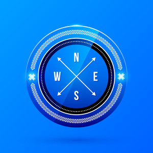 Direction Label On Blue Background. Eps10